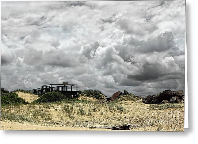 Greeting Card featuring the photograph Cloudy Beach By Kaye Menner by Kaye Menner
