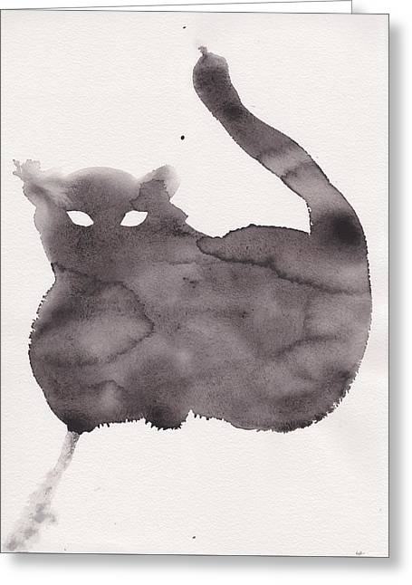 Greeting Card featuring the painting Cloudy Cat by Marc Philippe Joly