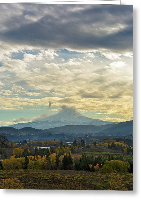 Cloudy Day Over Mount Hood At Hood River Oregon Greeting Card