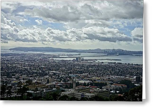 Cloudy Day Over The Bay Greeting Card