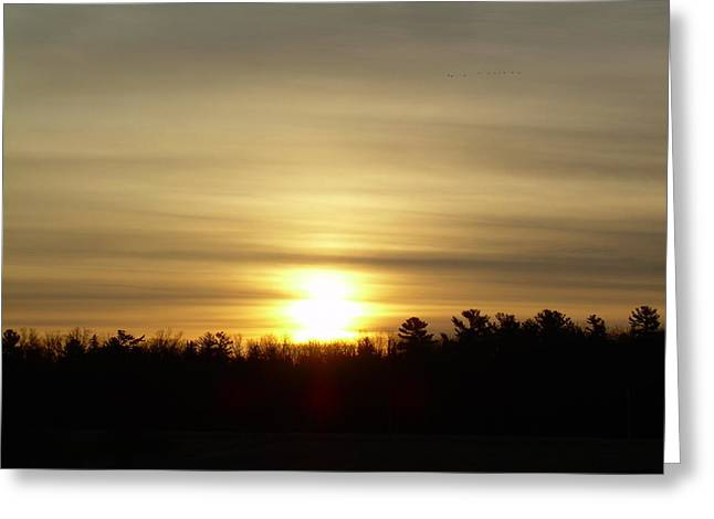 Cloudy Golden Sky At Dawn Greeting Card by Kent Lorentzen