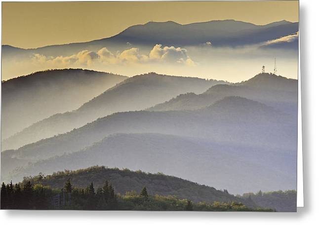 Rob Travis Greeting Cards - Cloudy Layers on the Blue Ridge Parkway - NC Sunrise Scene Greeting Card by Rob Travis