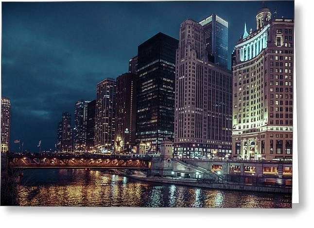 Cloudy Night Chicago Greeting Card