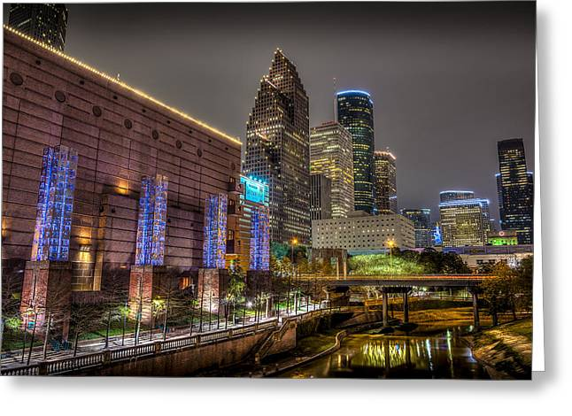 Cloudy Night In Houston Greeting Card
