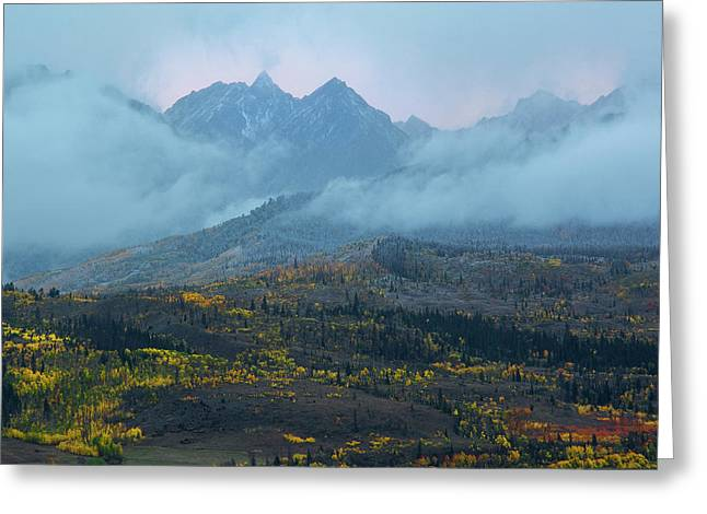 Greeting Card featuring the photograph Cloudy Peaks by Aaron Spong