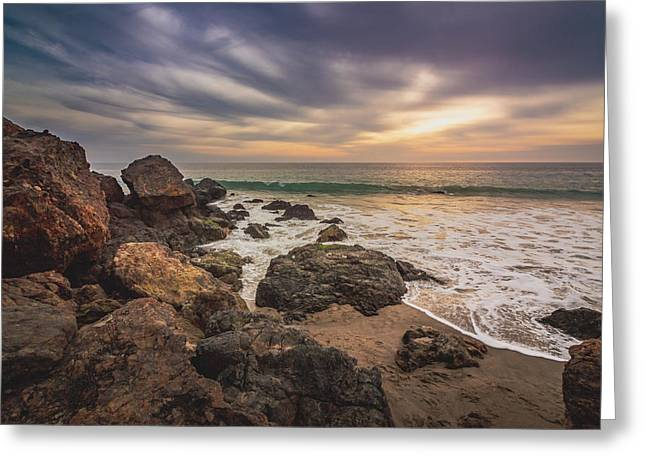 Cloudy Point Dume Sunset Greeting Card