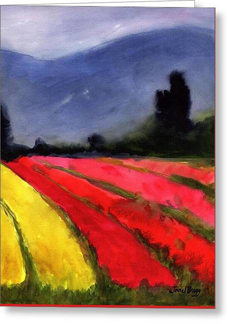Cloudy Skagit Tulip Fields Greeting Card by Janel Bragg