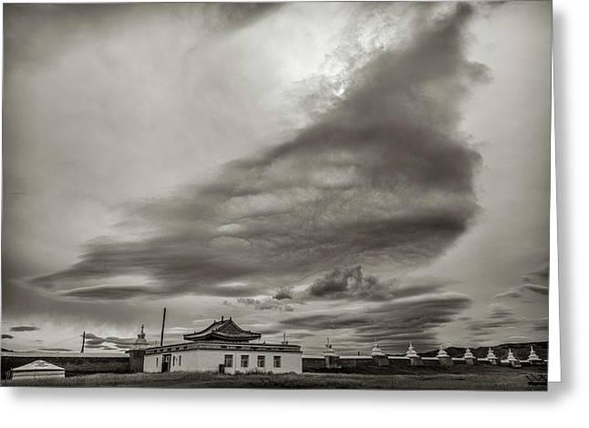 Greeting Card featuring the photograph Cloudy Sky, Karakorum, 2016 by Hitendra SINKAR