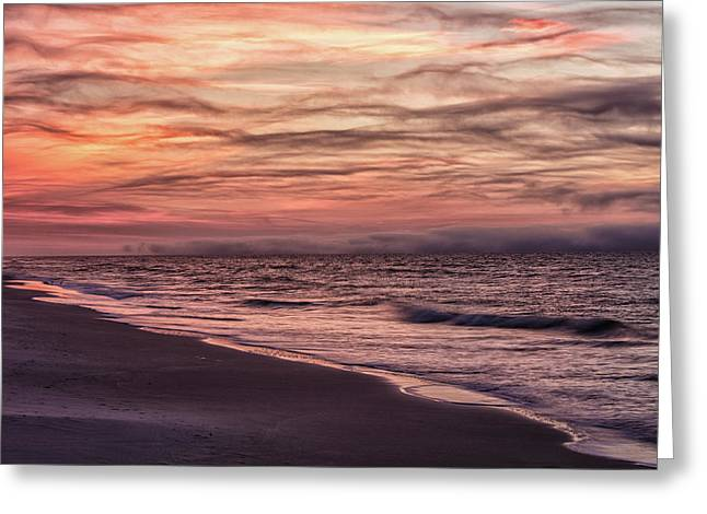 Greeting Card featuring the photograph Cloudy Sunrise At The Beach by John McGraw