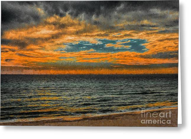 Cloudy Sunrise Greeting Card by Dave Bosse
