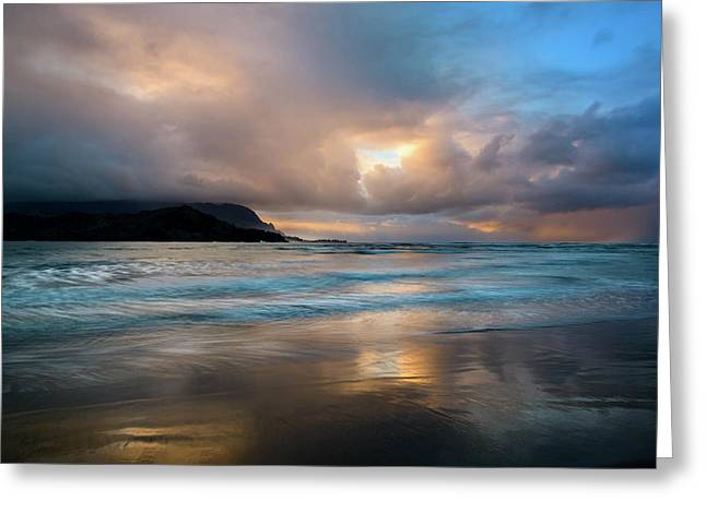 Greeting Card featuring the photograph Cloudy Sunset At Hanalei Bay by John Hight