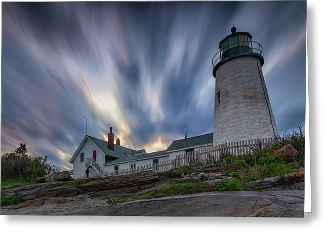Cloudy Sunset At Pemaquid Point Greeting Card