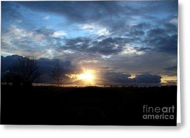 Cloudy Sunset Greeting Card by Emily Kelley