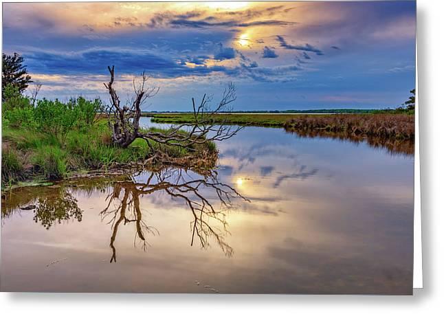 Cloudy Sunset On Assateague Island Greeting Card