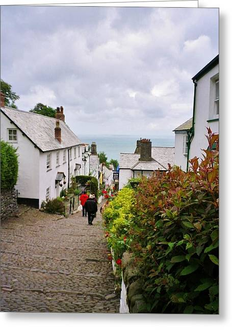 Clovelly High Street Greeting Card by Richard Brookes