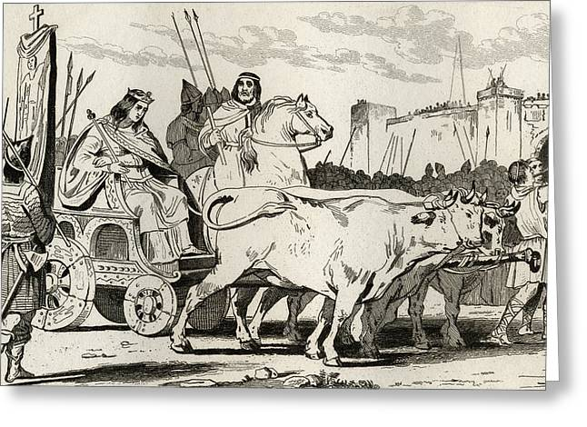 Clovis IIi 682 To 695 In A Chariot Greeting Card