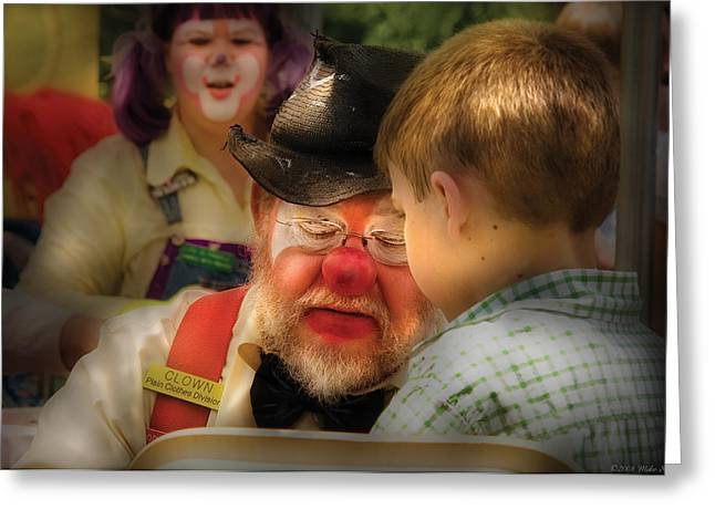 Clown - Face Painting Greeting Card by Mike Savad