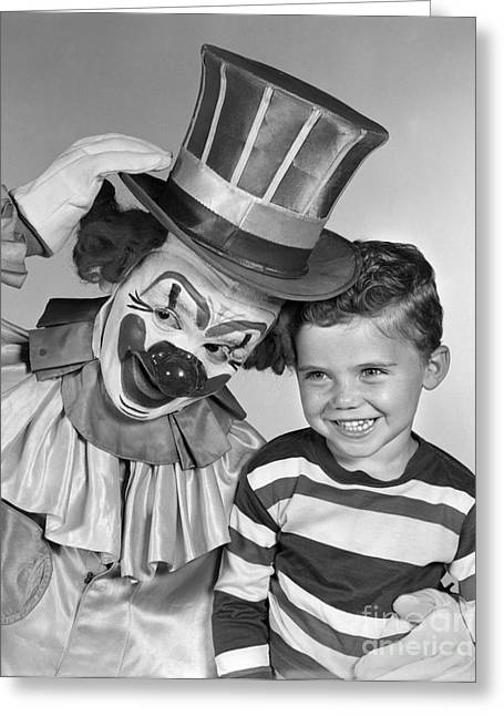 Clown And Boy, C.1950s Greeting Card by H. Armstrong Roberts/ClassicStock