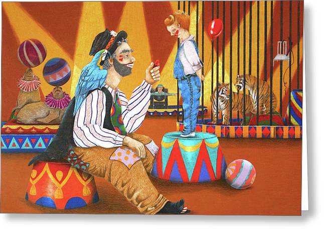 Clown And Boy Greeting Card by Teresa Frazier