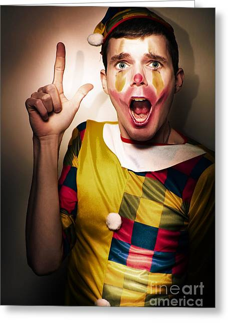 Clown Bank Robber Performing A Copyspace Holdup Greeting Card by Jorgo Photography - Wall Art Gallery
