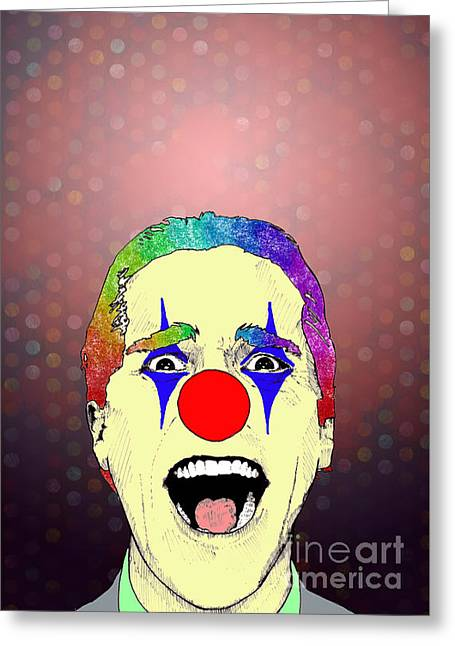 Greeting Card featuring the drawing clown Christian Bale by Jason Tricktop Matthews