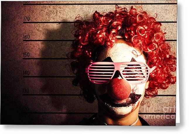 Clown Criminal Mug Shot Photo Id On Police Lines Greeting Card by Jorgo Photography - Wall Art Gallery