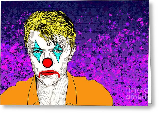Greeting Card featuring the drawing Clown David Bowie by Jason Tricktop Matthews