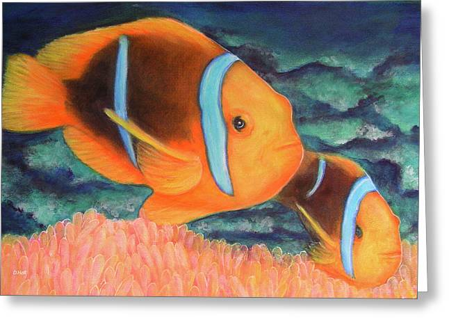 Clown Fish #310 Greeting Card by Donald k Hall