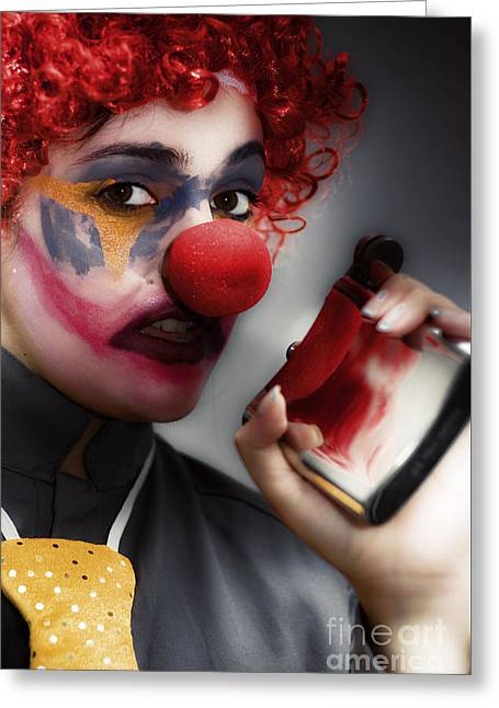 Clown Holding Flask Greeting Card by Jorgo Photography - Wall Art Gallery