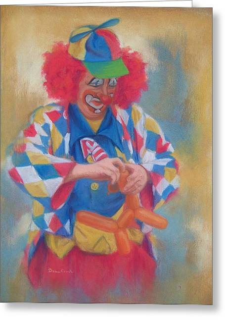 Clown Making Balloon Animals Greeting Card by Diane Caudle