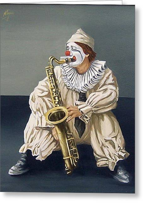 Greeting Card featuring the painting Clown by Natalia Tejera