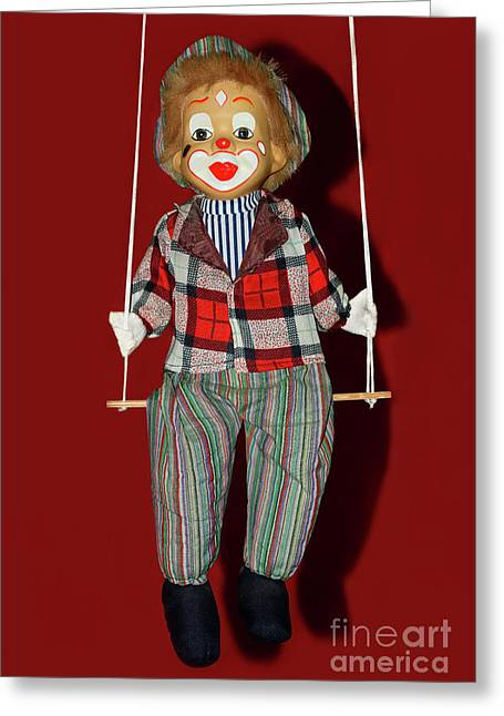 Greeting Card featuring the photograph Clown On Swing By Kaye Menner by Kaye Menner