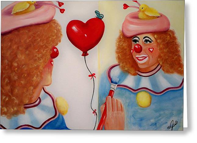 Greeting Card featuring the painting Clown Painting by Joni McPherson