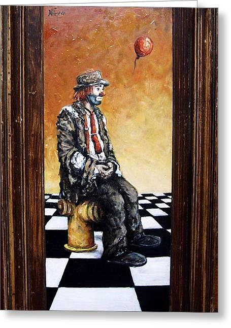 Clown S Melancholy Greeting Card by Natalia Tejera