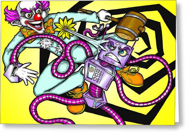Clown V. Robot Greeting Card by Christopher Capozzi
