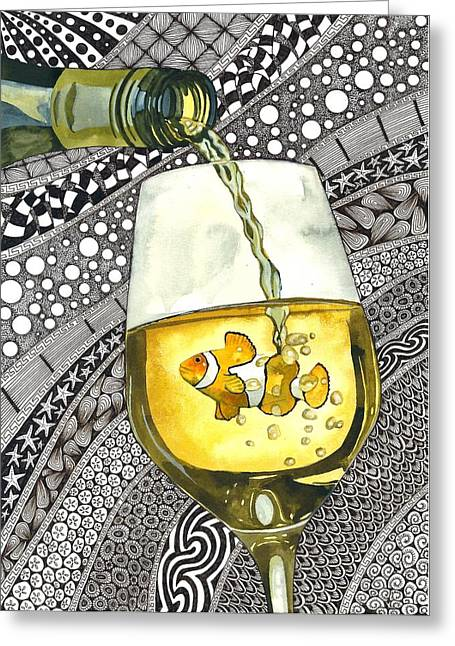 Clown Wine Greeting Card by Terri Kelleher
