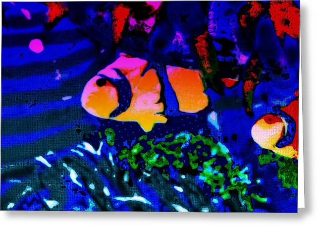 Greeting Card featuring the painting Colorful Reef Artwork Clownfish by David Mckinney