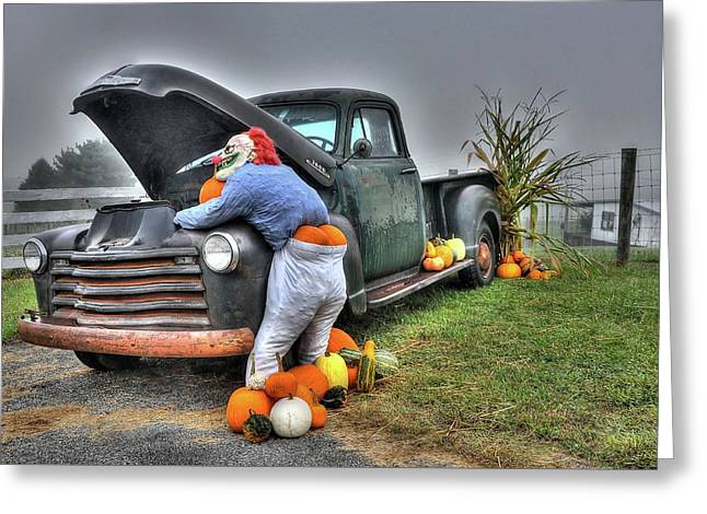 Clowning Around Greeting Card by Todd Hostetter