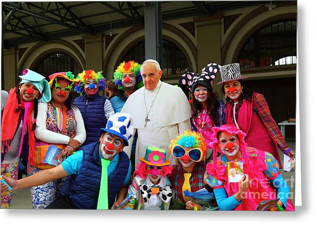 Clowning Around With Pope Francis Greeting Card by James Brunker