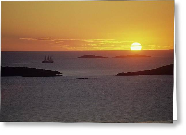 Club Med Sailing Into Sunset Greeting Card
