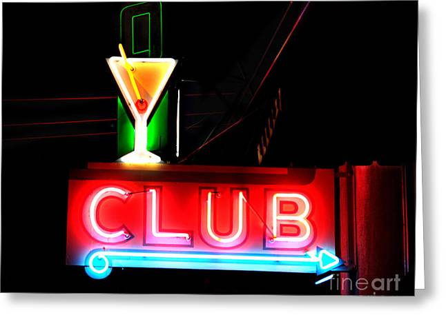 Club Neon Sign 24x20 Greeting Card by Melany Sarafis