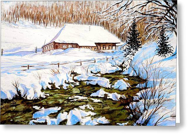 Greeting Card featuring the painting Clubhouse In Winter by Sher Nasser