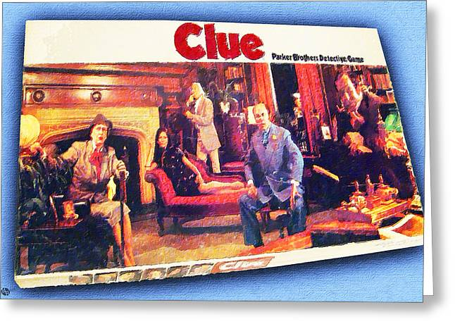Clue Board Game Painting Greeting Card by Tony Rubino