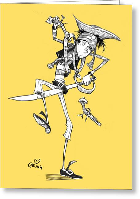 Clumsy Pirate Greeting Card by Andy Catling