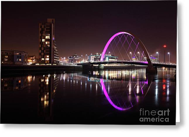 Clyde Arc Night Reflections Greeting Card