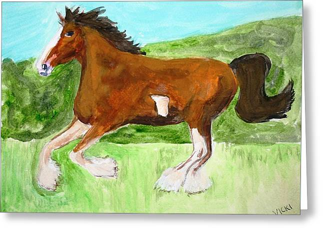 Clydesdale Greeting Card by Victoria Hasenauer