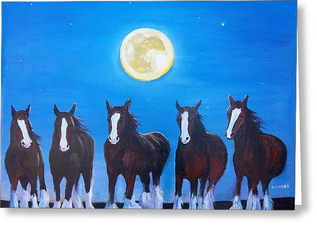 Clydesdales In Moonlight Greeting Card