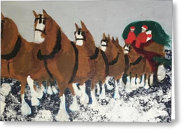 Greeting Card featuring the painting Clydsdale Horses Bringing Home The Tree by Donald J Ryker III