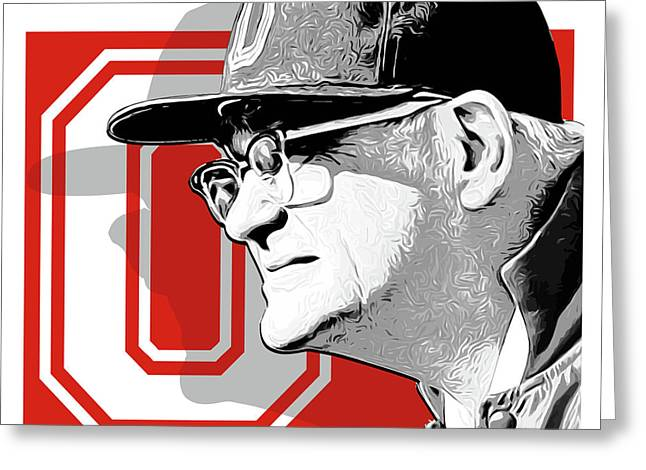 Coach Woody Hayes Greeting Card by Greg Joens