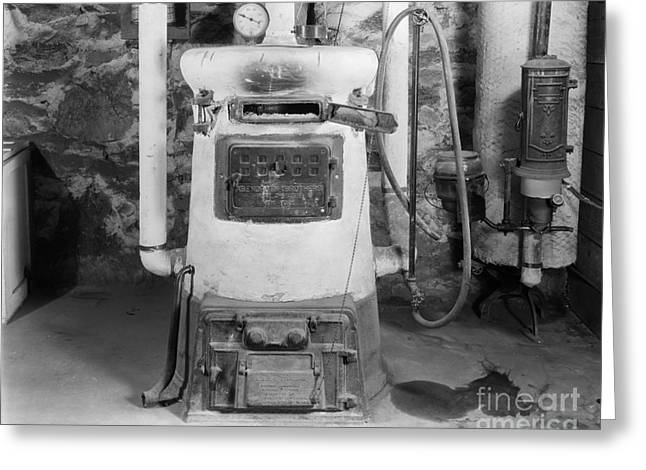 Coal Burning Home Furnace, C.1920-30s Greeting Card